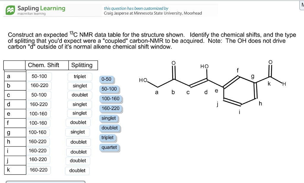 Solved construct an expected 13c nmr data table for the s for 13 c nmr shifts table