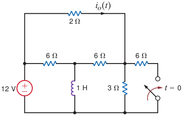 Find i0(t) for t > 0 in the circuit below: