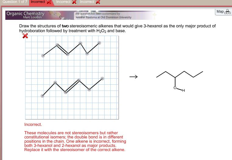 Draw the structures of two stereoisomeric alkenes