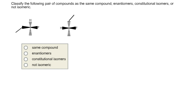 Solved: Classify The Following Pair Of Compounds As The Sa ...