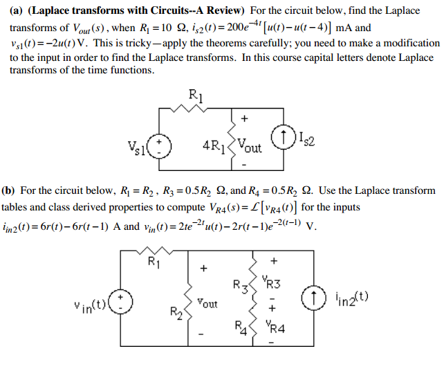 (Laplace transforms with Circuits--A Review) For t