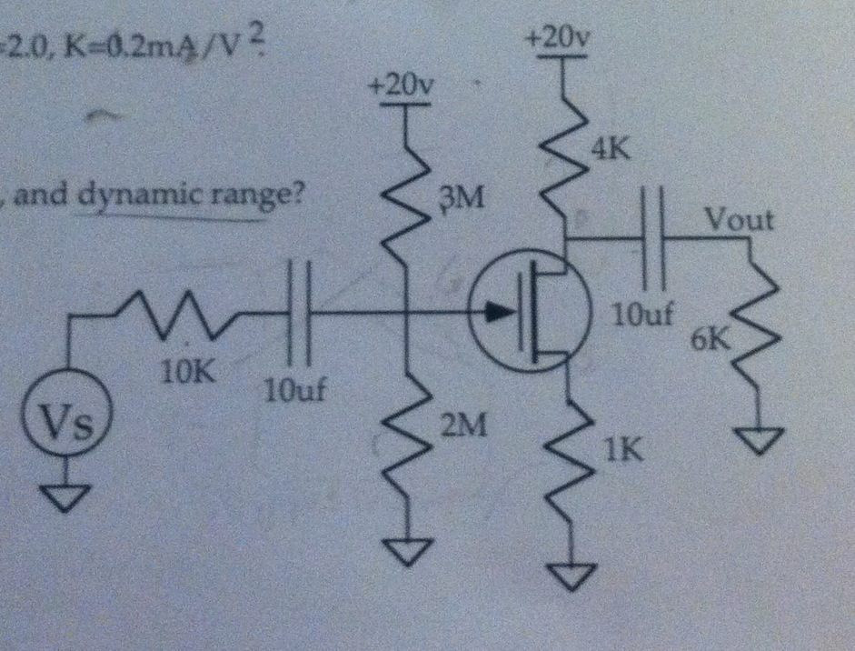An n-channel MOSFET has Vt=2.0, K=.2 mA/V^2. Find