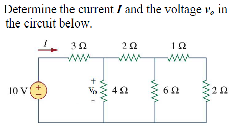 Determine the current I and the voltage v0 in the