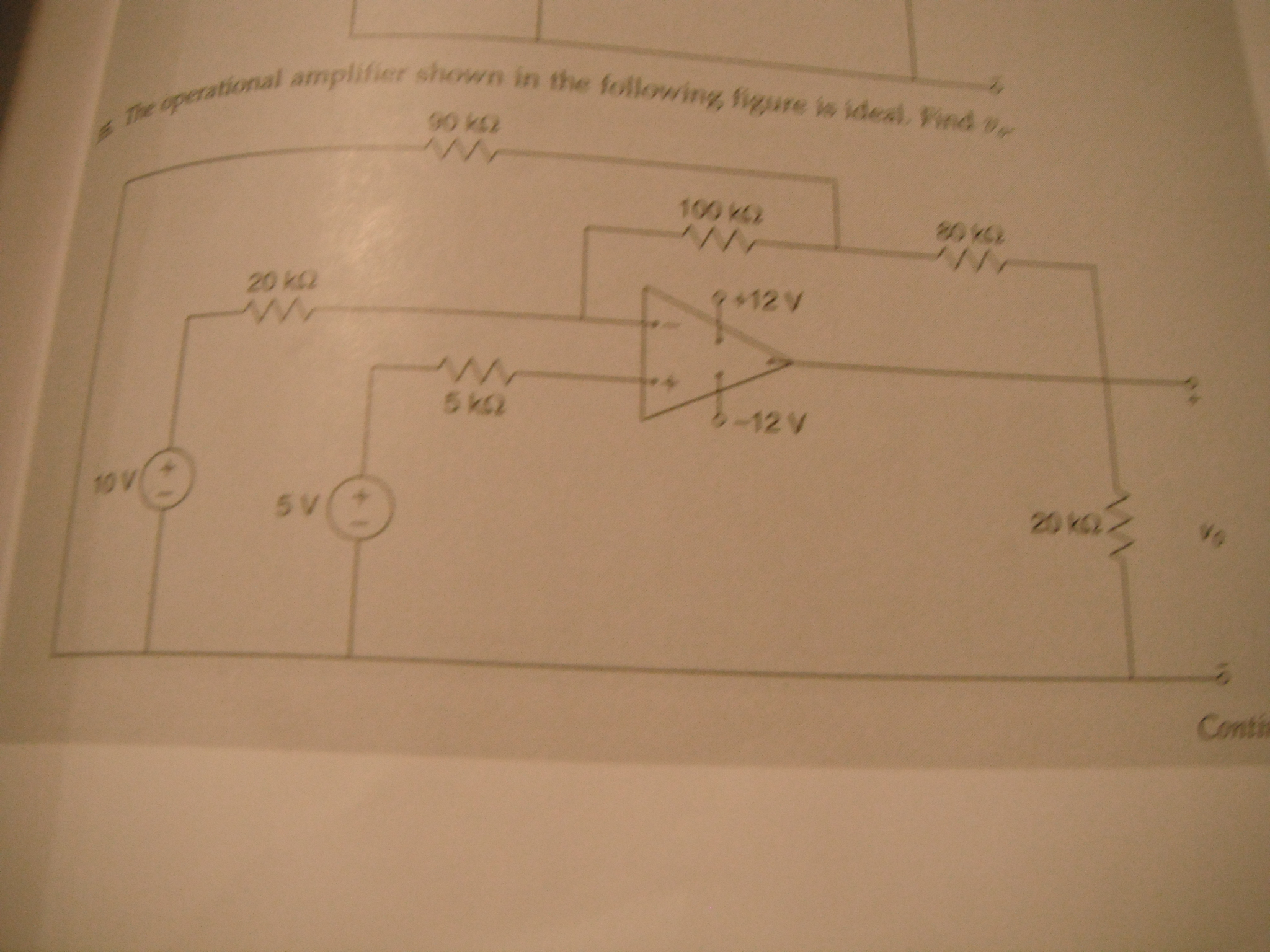 The operational amplifier shown in the following f