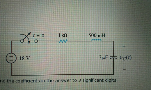 Find vC(t) for t > 0 in the circuit in the acco