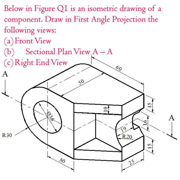 sectional view engineering drawing exercises pdf