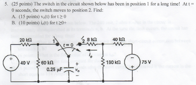 The switch in the circuit shown below has been in