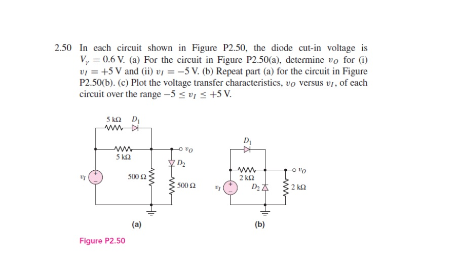 In each circuit shown in Figure P2.50. the diode c