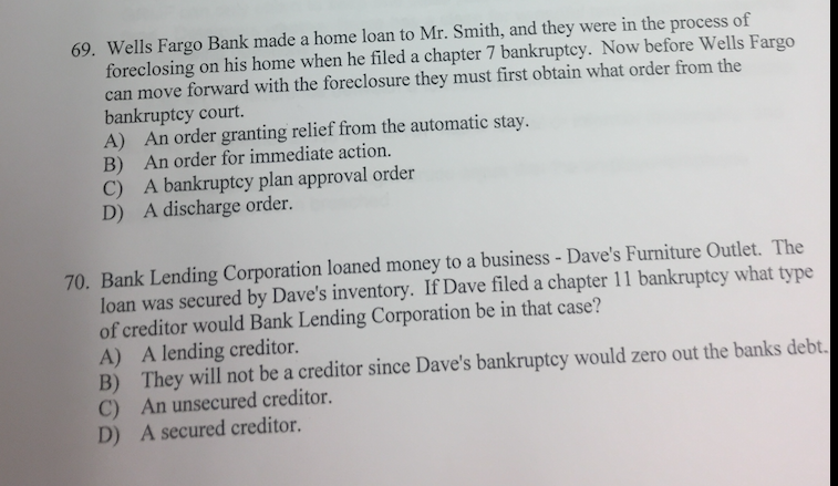 Wells Fargo Bank Made A Home Loan To Mr Smith An