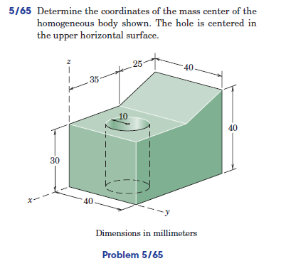 Determine the coordinates of the mass center of th