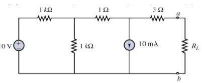 For the circuit shown above, determine the Theveni