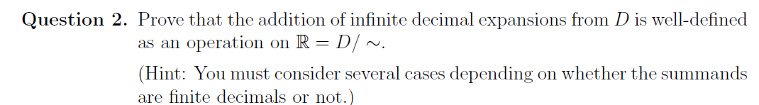 Prove that the addition of infinite decimal expans