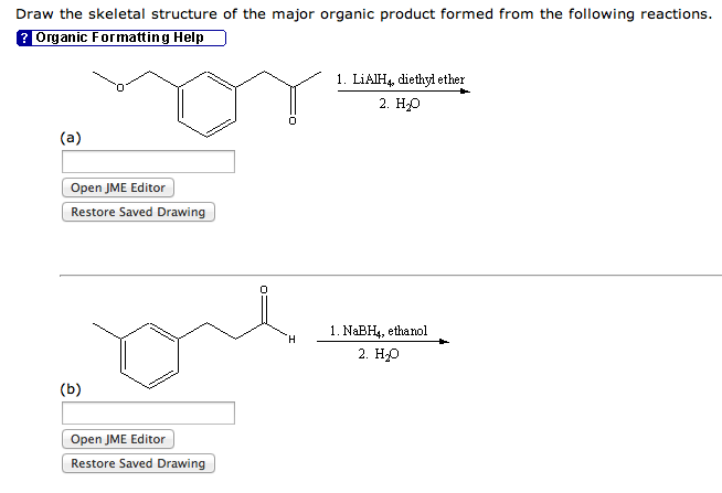 Draw the skeletal structure of the major organic p