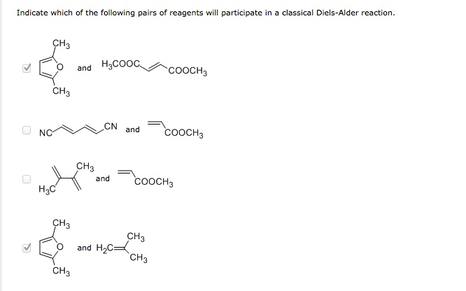 Indicate which of the following pairs of reagents