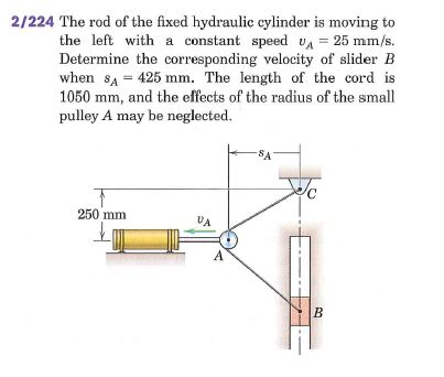 The rod of the fixed hydraulic cylinder is moving