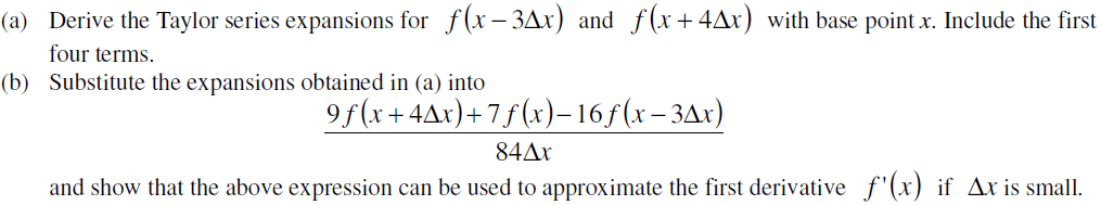 Derive the Taylor series expansions for f(X - 3Del
