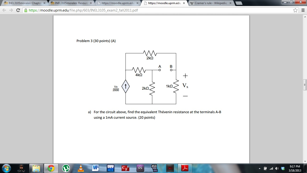 For the circuit above, find the equivalent Théveni