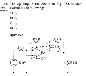 The op amp in the circuit in Fig. P5.6 is ideal. C