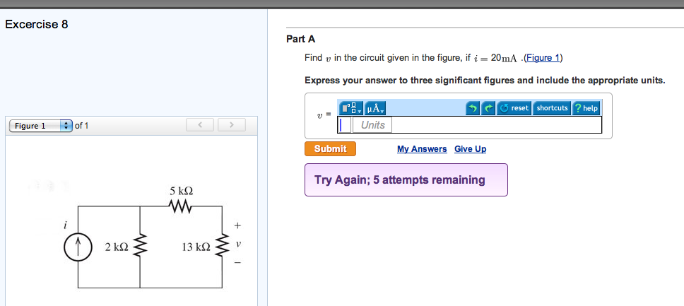 Find v in the circuit given in the figure, if i =