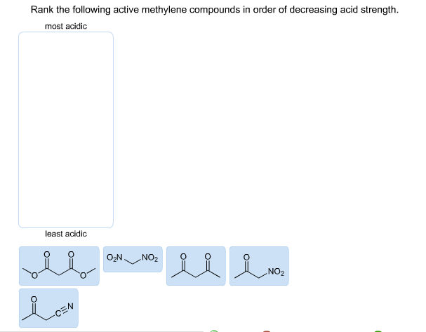 Rank the following active methylene compounds in o