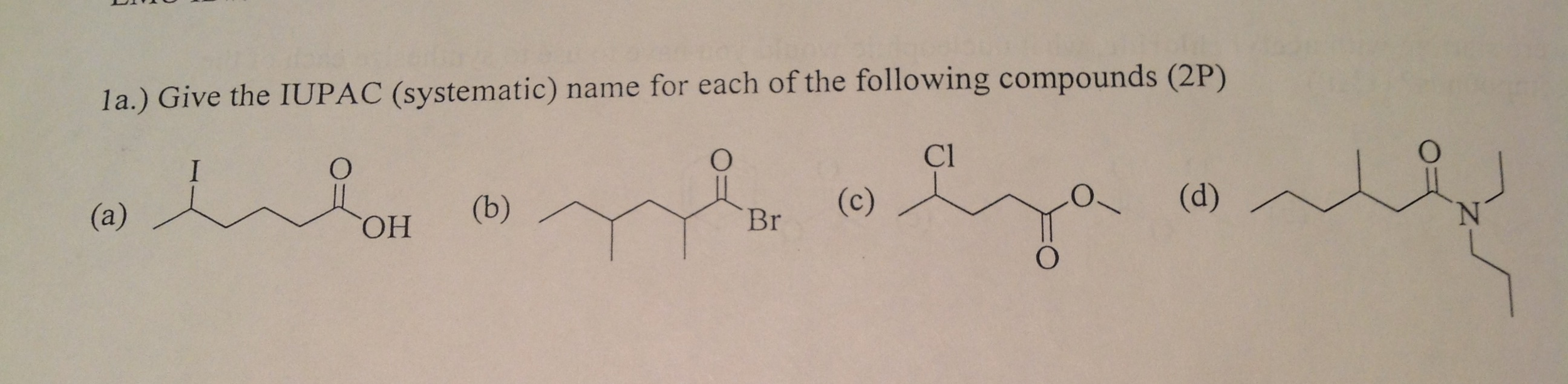 Give the IUPAC (systematic) name for each of the f