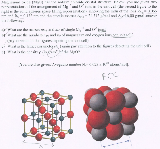 Magnesium Oxide Structure : Solved magnesium oxide mgo has the sodium chloride crys