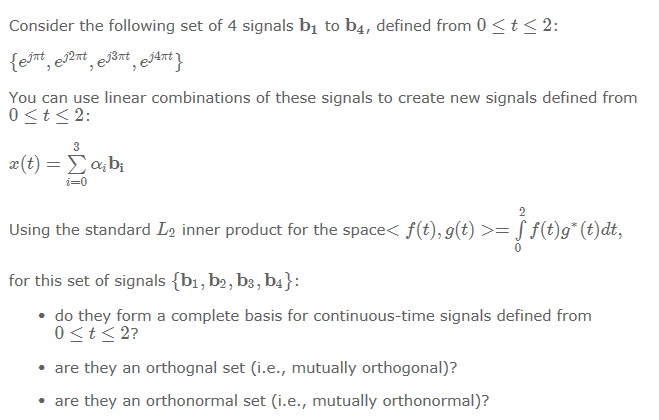 Consider the following set of 4 signals bi to b4,