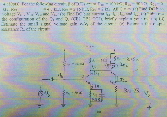 For the following circuit: R = 2k Ohm, Vs = 200 si
