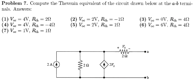 Compute the Theveuin equivalent of the circuit dra