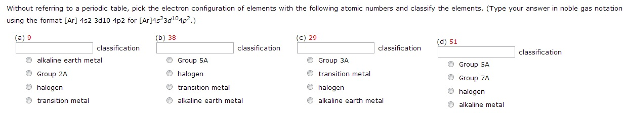 Without referring to a periodic table, pick the el
