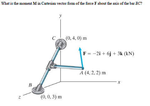 What is the moment M in Cartesian vector form of t