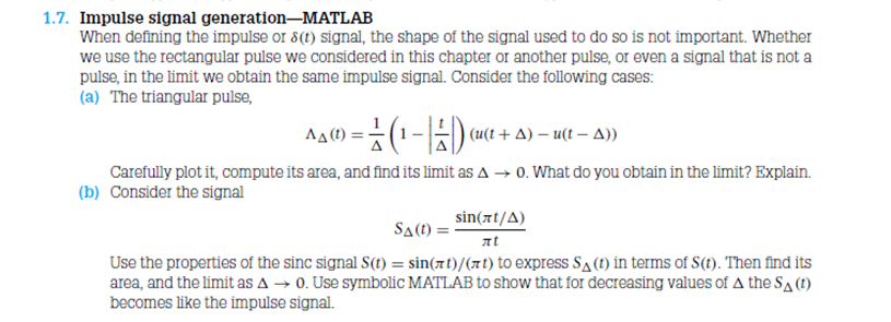 Impulse signal generation-MATLAB When defining th