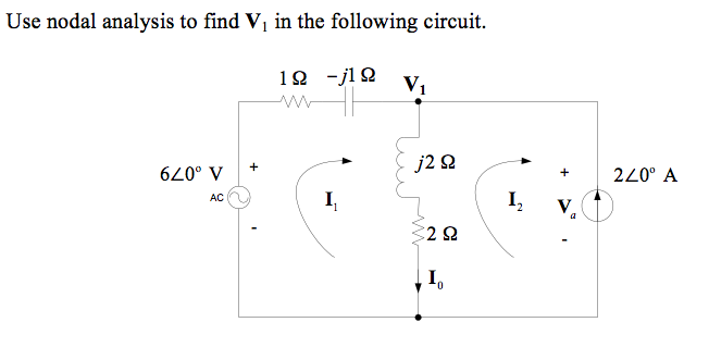 Use nodal analysis to find V1 in the following cir