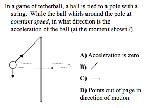 In a game of tetherball, a ball is tied to a pole