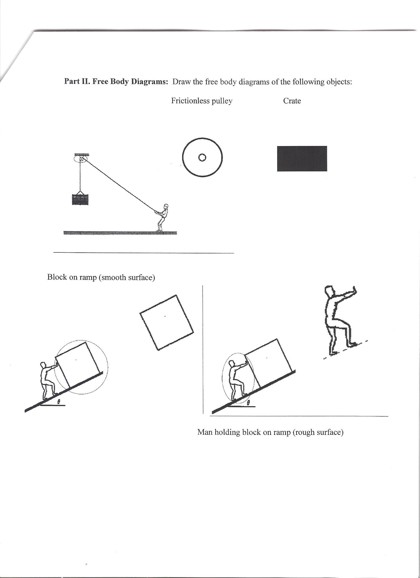 Free Body Diagrams: Draw the free body diagrams of