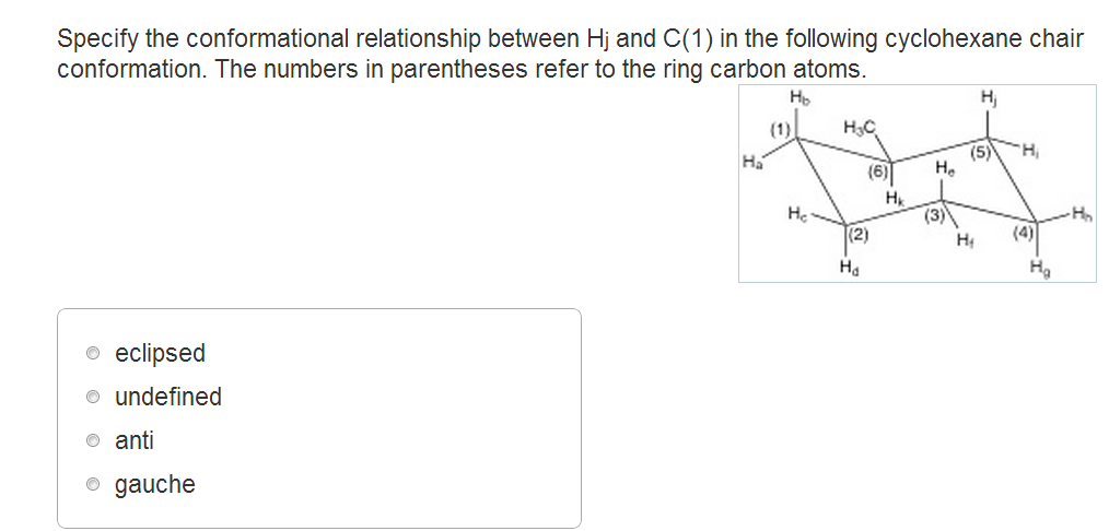 Specify the conformational relationship between Hj