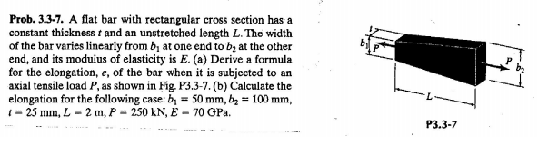 A flat bar with rectangular cross section has a co