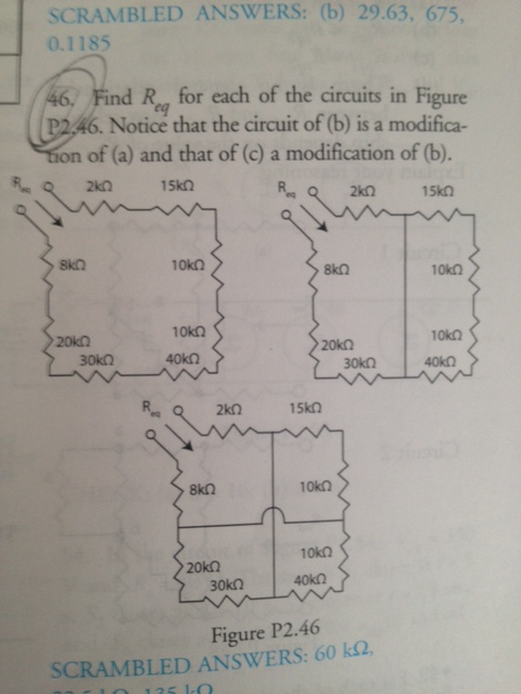 Find Req for each of the circuits in Figure P2.46.