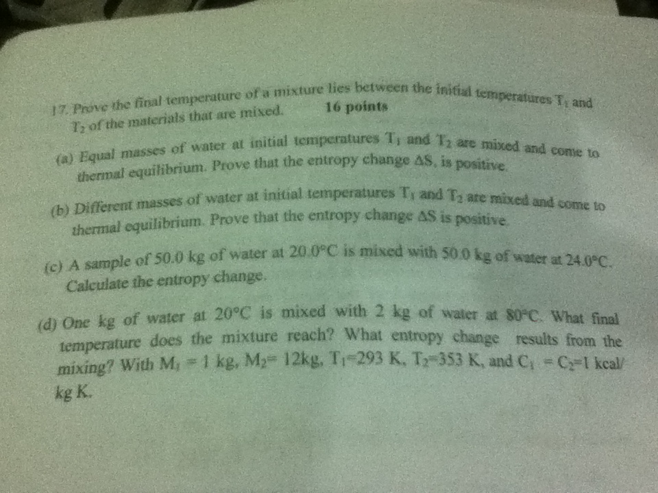Prove the final temperature of a mixture lies betw