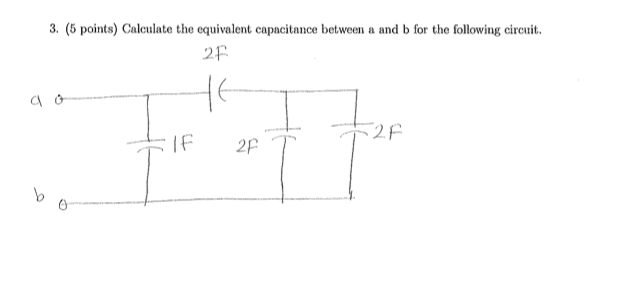 Calculate the equivalent capacitance between a and