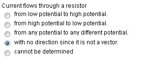 Current flows through a resistor from low potenti