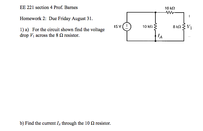 For the circuit shown find the voltage drop V1 acr