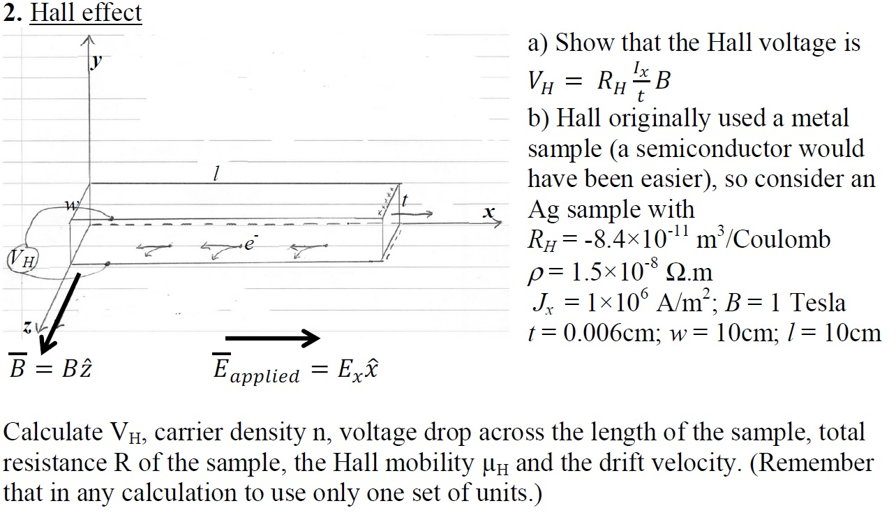 Show that the Hall voltage is VH= RH lx / t B Hal