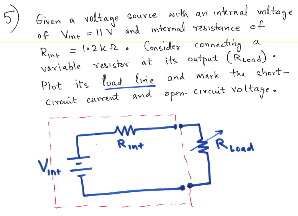 Given a voltage source with an internal voltage of