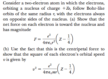 Consider a two-electron atom in which the electron