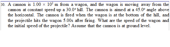 A cannon is 1.00 times 102 m from a wagon, and the