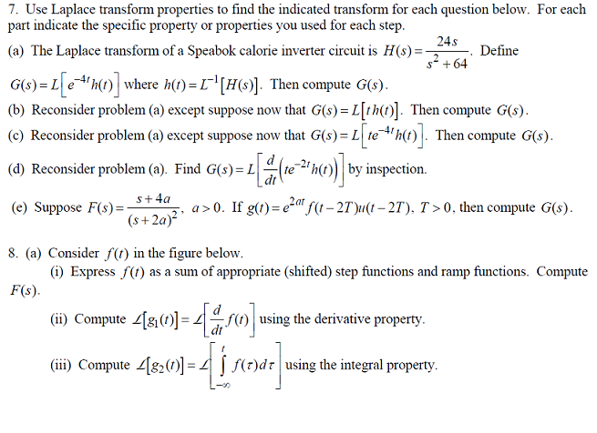 Use Laplace transform properties to find the indic