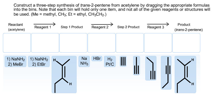 Construct the three-step synthesis of trans-2-pent