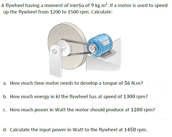 Solved a flywheel having a moment of inertia of 9 kg m 2 for Measure torque of a motor