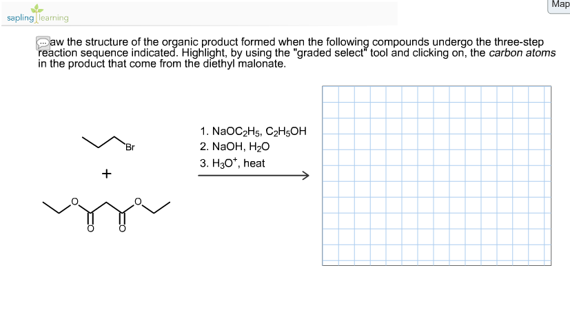 Draw the structure of the organic product formed w